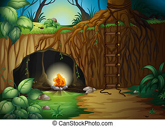 A camp fire in a cave - Illustration of a camp fire in a...