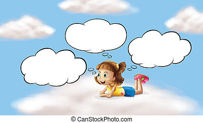 A girl lying and thinking in the sky - Illustration of a...