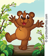 A smiling bear - Illustration of a smiling bear in a...