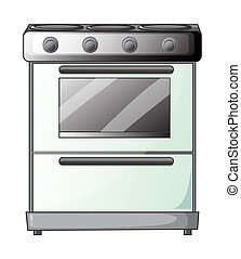 A gas stove - Illustration of a gas stove on a white...