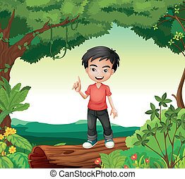 A boy in the nature