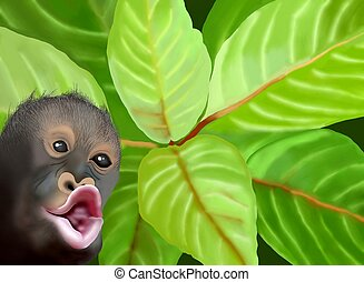 A Chimpanzee Monkey on Green Leaves Background - Hand...