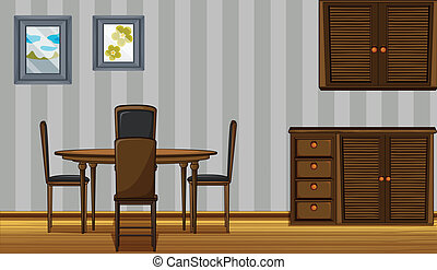 Wooden furniture in a home - Illustration of wooden...