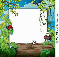 A lady bug and a white board - Illustration of a lady bug...