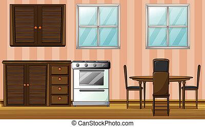 A furniture in a room