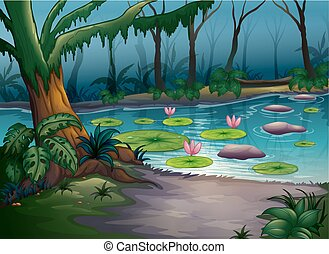 A river in a beautiful nature - Illustration of a river in a...