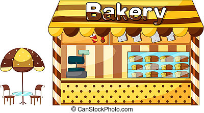 A bakery shop - Illustration of a bakery shop on a white...