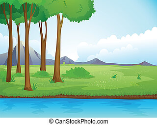 A river and a tree - Illustration of a river and a tree in a...