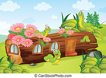 A caterpillar and a wood house - Illustration of a...