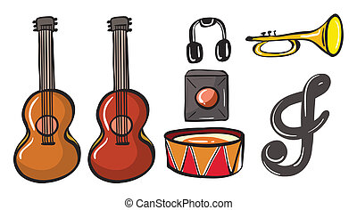 Various musical instruments - Illustration of various...