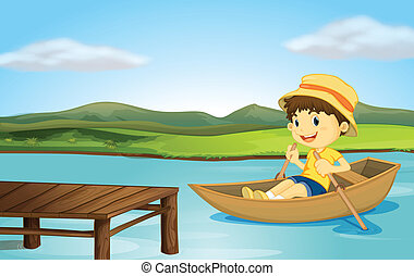 A boy in a boat and a wooden bench - Illustration of a boy...