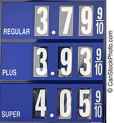 gas sign - A close up of a gas sign with fuel prices on the...