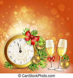 Novo, ano, Véspera, cartão, Saudação