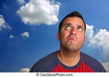 Thinking Man - A portrait of a man who appears to be...
