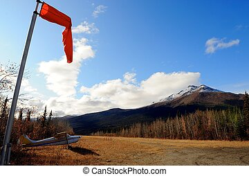 Airfield, wind sock, plane, Alaska - Airfield or landing...
