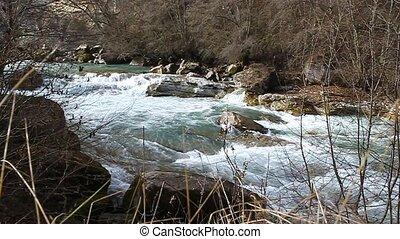 Clean blue mountain river