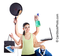 Multi-tasking woman - Active young woman with six hands...