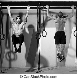 Cross fit toes to bar men pull-ups 2 bars workout exercise...