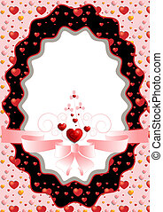 Oval frame with hearts and pink bow