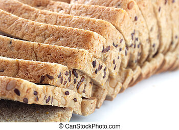 Closeup of multigrain bread slices with flaxseeds and...