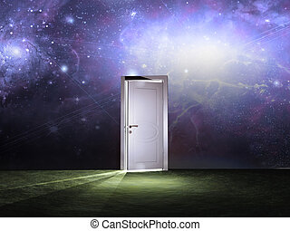 Doorway before cosmic sky