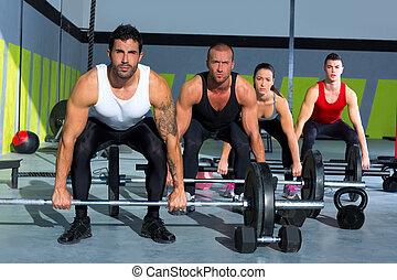 Gymnase, groupe, poids, levage, barre, croix, crise, séance...