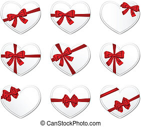 Valentine's Day gift cards - Heart gift cards with red...