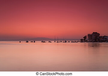 Pink sunset - Near the beach we can see a different types of...