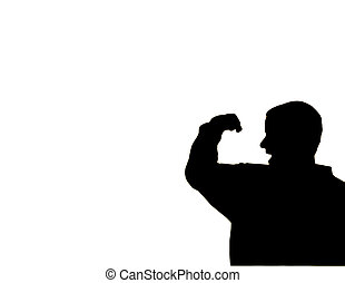 Flex - Silhouette of a man flexing his arm muscle