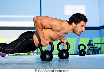 force, Gymnase, pompe,  kettlebell, direct, homme
