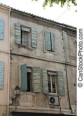 Facade with windows - Windows in Provencial style with...