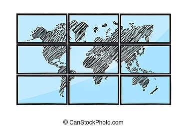 map on flat panels - map of world on flat panels on white...