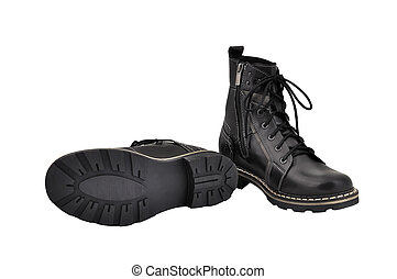 army boots - black army boots isolated on white background