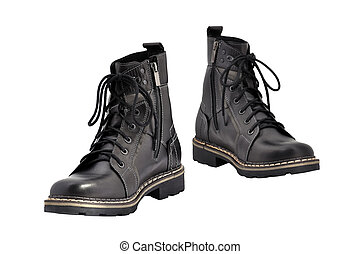 black army boots - army boots isolated on white background