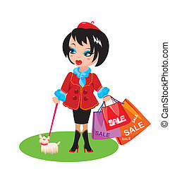 Funny Girl with dog go shopping in sale time