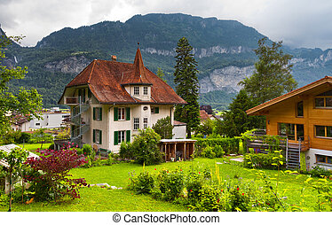 Swiss houses with a garden - The traditional, wooden, swiss...