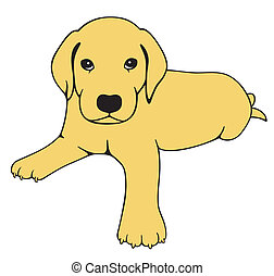 Labrador Puppy - Drawing of a cute Labrador dog. Isolated,...
