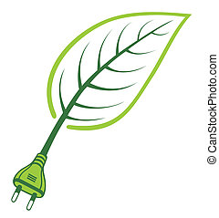 Green Power - Renewable Energy - Leaf growing from a power...