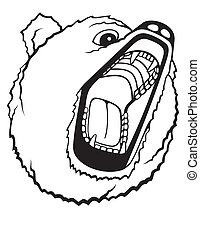 Grizzly Bear - Roaring grizzly bear. Big jaws, angry face.