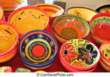 Provencal ceramics - Colorful ceramic products in...
