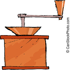 coffee grinder - Hand drawn, vector, sketch illustration of...