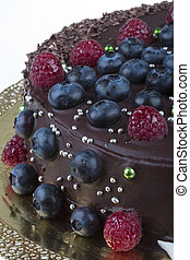 chocolate mousse cake with berries