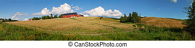 Norwegian Farm Panorama 1 - Panoramic view of a typical...