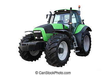 Green tractor separately on a white background