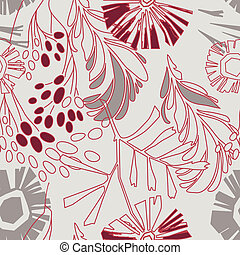 retro floral pattern with flowers seamlessly - retro floral...