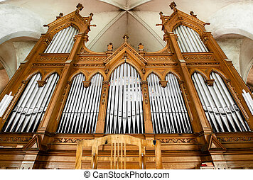 Beautiful organ with a lot of pipes angle shot