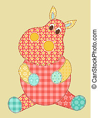 Hippopotamus patchwork - Childrens application Hippopotamus...
