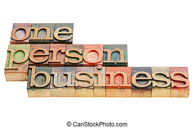 one person business -isolated words in vintage letterpress...