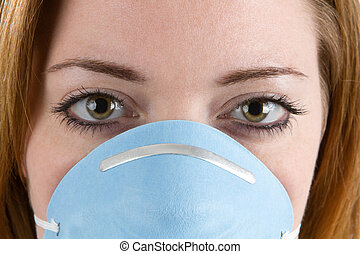 Woman Wearing Facemask - Close up of woman face wearing a...