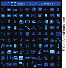 Hundred Web and Media Icon Set - illustration of hundred...